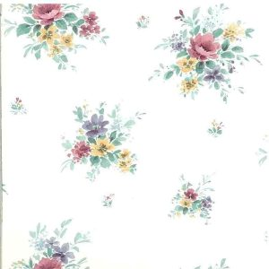 Nosegays floral vintage wallpaper, pink, purple, yellow, white