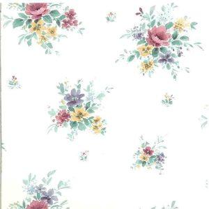 Nosegays Floral Vintage Wallpaper Pink Purple Green 15359 D/Rs