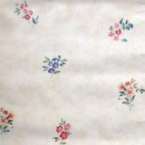 Summer floral vintage wallpaper, rose, pink, blue, green, cream, faux finish