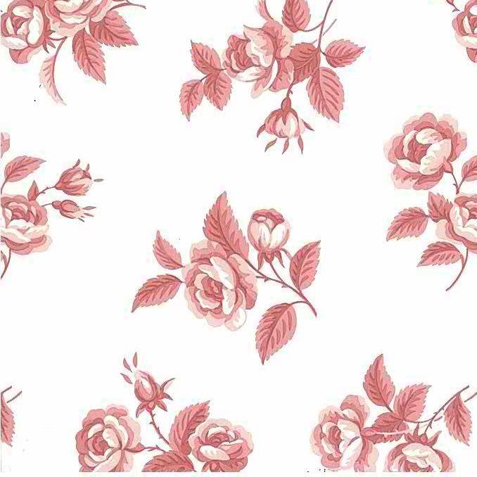 Waverly roses vintage wallpaper, pink, roses, floral, cottage, off-white