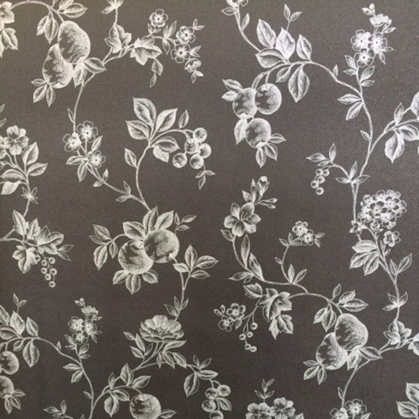 black silver fruit wallpaper, kitchen, floral, flowers, metallic