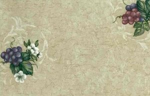 grapes kitchen vintage wallpaper, purple, beige, red, white, crackled finish, cottage