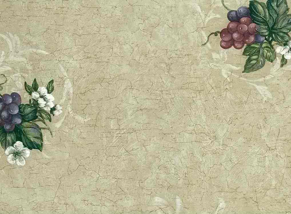 Grapes flowers wallpaper crackle finish,whitewash