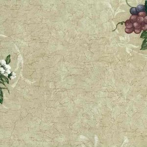 Grapes Flowers Wallpaper Crackle Kitchen Red Beige 7236-751 D/Rs