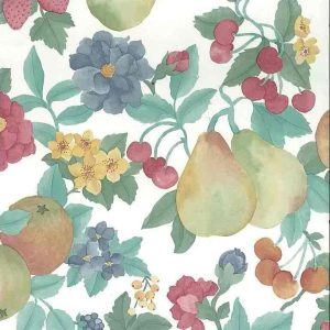 Pears Berries Vintage Wallpaper Floral Kitchen Yellow Green 19803 D/Rs