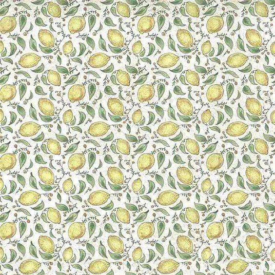 yellow lemons vintage wallpaper, green, leaves, off-white, crackled, kitchen