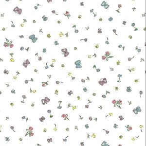 childrens winnie the pooh wallpaper, pink, blue, yellow, off-white, nursery, kids, girl's bedroom, boy's bedroom, floral, butterflies