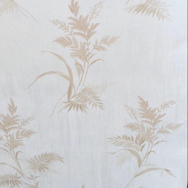 Embossed leaf wallpaper, cream, beige, textured, glazed, embossed