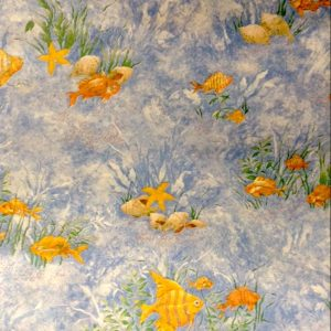 Bathroom Reef Wallpaper Fish Shells Blue Yellow 72315 D/Rs