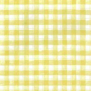 yellow plaid check vintage wallpaper, kitchen, white, country, cottage