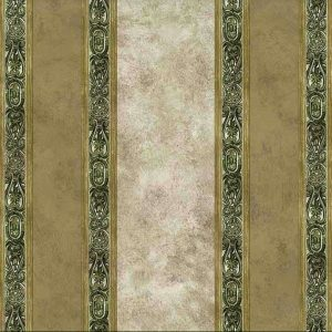 Beige Green Striped Vintage Wallpaper Faux Finish Medallion lA790956 D/Rs