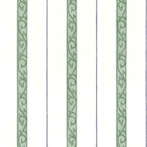 Waverly striped vintage wallpaper, green, purple, off-white, scrolls, bedroom, stripes