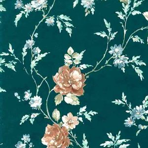 Green Satin Roses Vintage Wallpaper Blue Brown Textured 30226