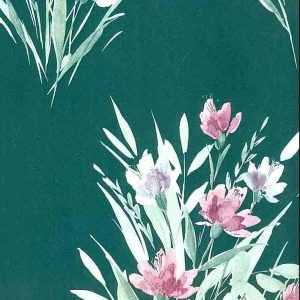 Shand Kydd Vintage Wallpaper Green Satin Floral Pink UK 651428 D/Rs