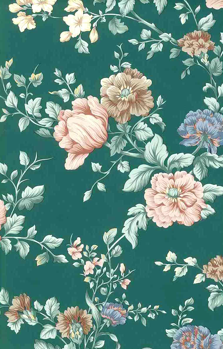 English Cottage Floral Vintage Wallpaper Peach Green Pink
