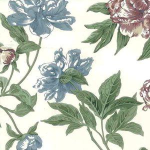 vintage wallpaper blue rose floral, white, green, cottage style