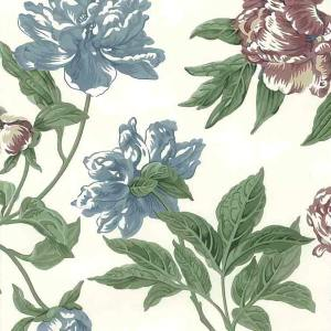 Vintage Wallpaper Blue Rose Floral Green White 705-4302 D/Rs
