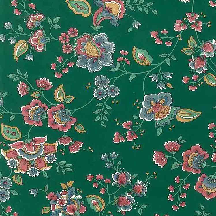 green floral vintage wallpaper, rose, pink, blue, cottage, paisley