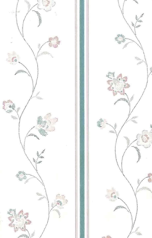 Waverly Stencil Vintage Wallpaper Floral Pink Teal Cream 552360 D Rs