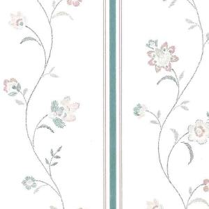 Waverly Stencil Vintage Wallpaper Floral Pink Teal Cream 552360 D/Rs