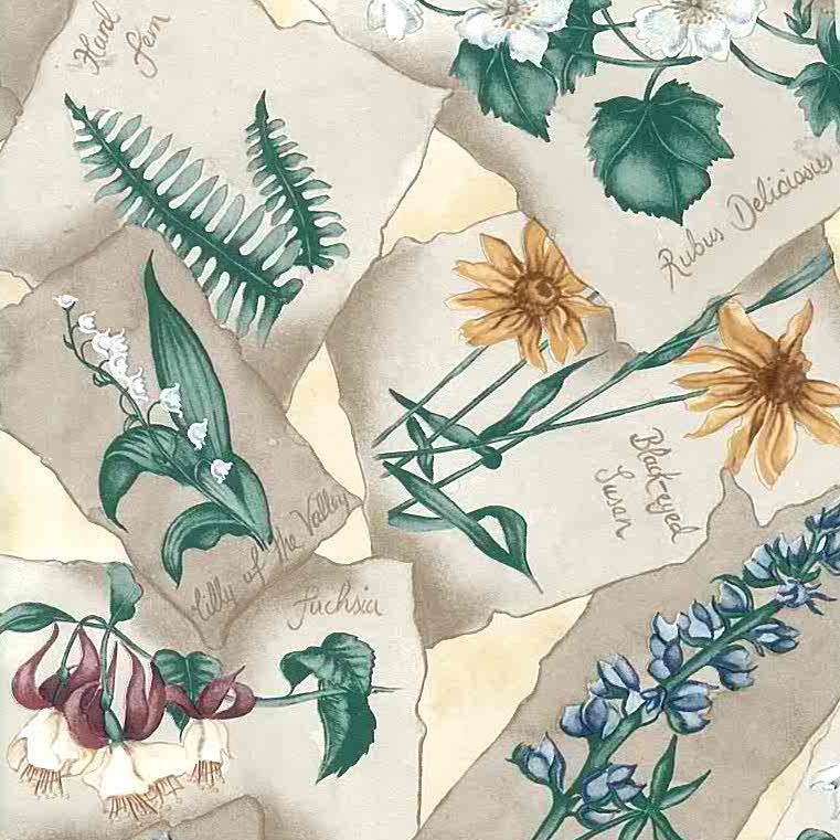 botanical floral vintage wallpaper, beige, green, yellow, flowers, anemones, lily of the valley, daisy, violet, black eyed susan, fuchsia, cottage