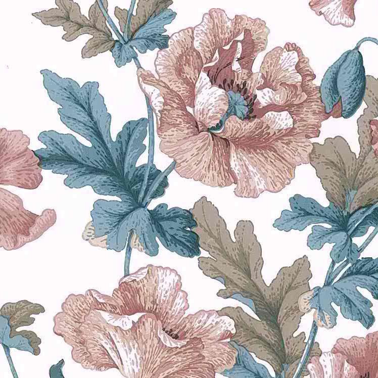 poppies vintage floral wallpaper, pink, teal, brown, off-white, leaves, flowers