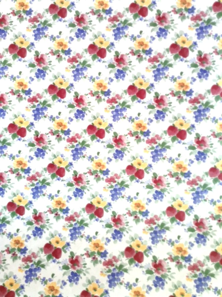Daffodils, strawberries, berries vintage wallpaper for a Kitchen or Bedroom.