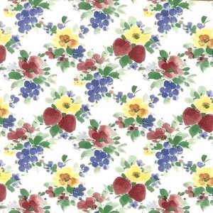vintage wallpaper strawberries grapes floral, red, green white, yellow