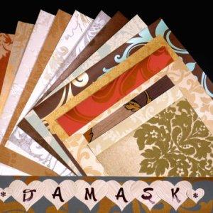 DAMASK Pattern Craft Scrapbooking Paper Wallpaper Pak 17 Sheets
