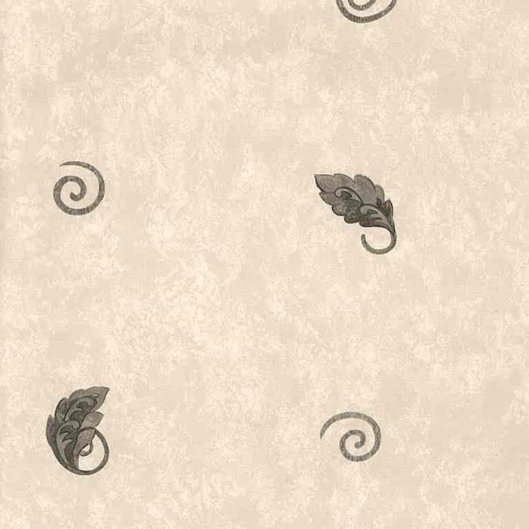 vintage wallpaper leaf kitchen, gray, beige, terracotta, faux finish