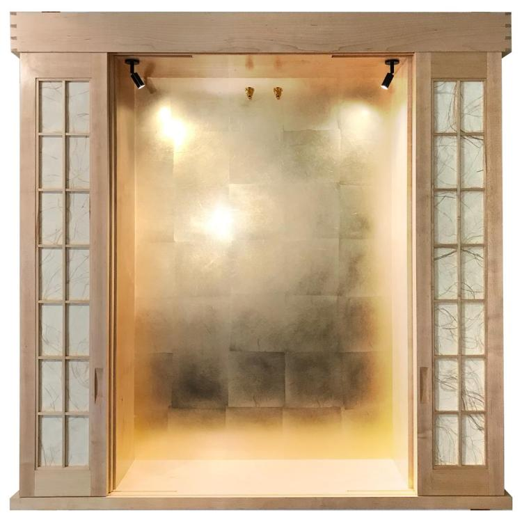Shoji-like grasscloth in cream and gold used for special screen.