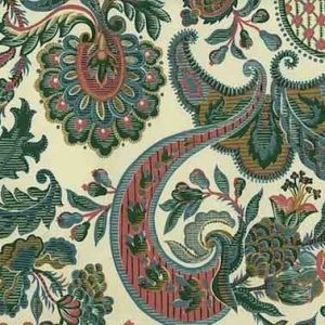 Waverly Jacobean Vintage Wallpaper Paisley Green Pink 555482 D/Rs