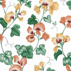 Orange Orchids Vintage Wallpaper Yellow Green Ivy Vines 22409 D/Rs