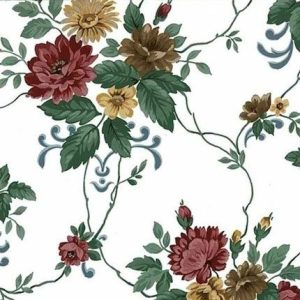 Dahlias Vintage Floral Wallpaper Maroon Red Brown 24759 D/Rs
