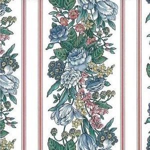 Pink floral striped vintage Wallpaper pattern Pink, Blue, Yellow & Green on an Off-White background. The broad bands of flowers are offset by narrow stripes.