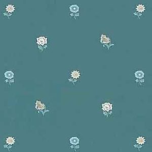 Country Floral Vintage Wallpaper Sage Green Blue Rose TH116 D/Rs