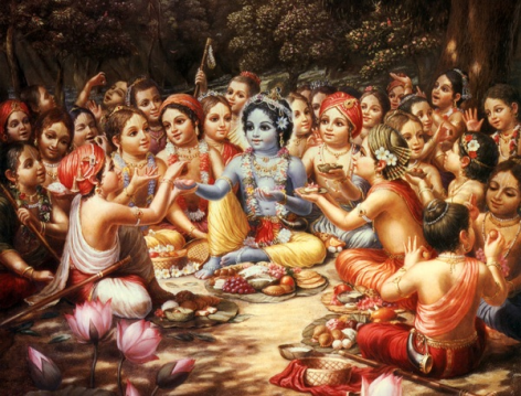 Krishna taking prasadam