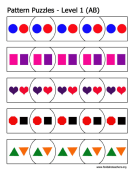 AB Pattern Puzzles Printable