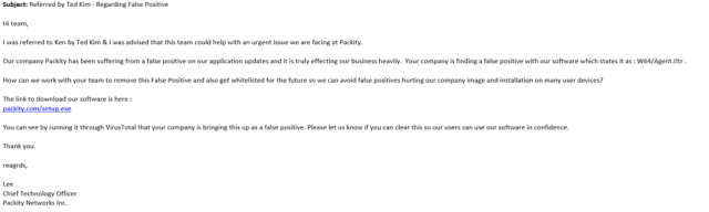 Figure 1: The email we received from Packity Networks alleged CTO.