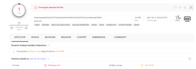 Figure 2: Detections in VirusTotal for setup.exe at the time we received the email.