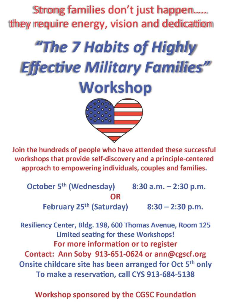 The 7 Habits of Highly Effec5ve Military Families Workshop