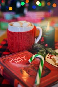 cocoa, candy canes and books