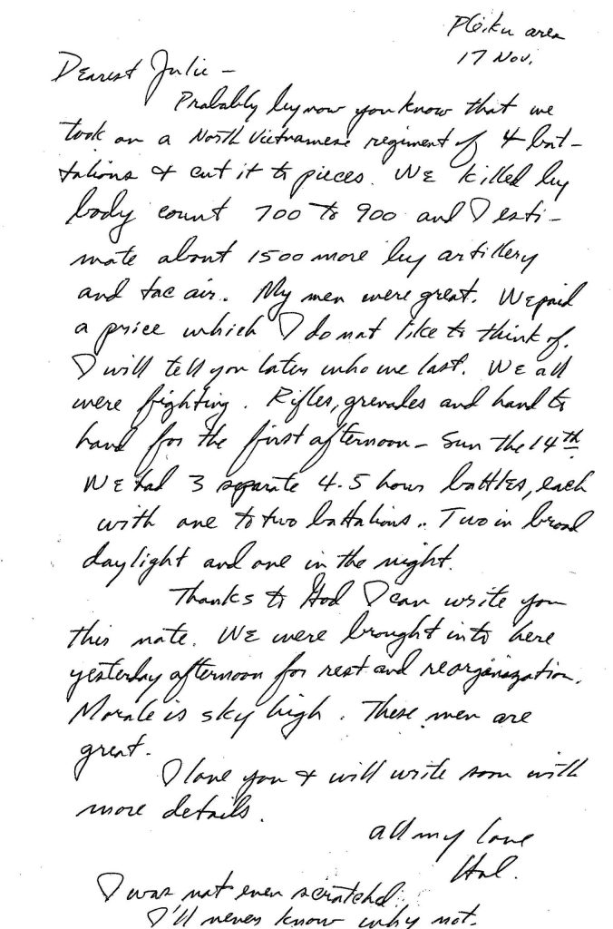 Hal's letter home after the fight at Lz Xray