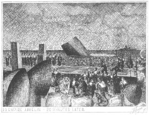 Empire Javelin sinking - sketch by Hazen