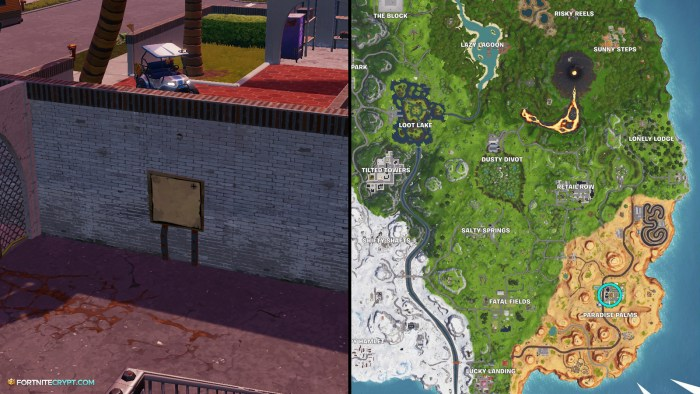 the location of the signpost at paradise palms - search the treasure map signpost found in paradise palms in fortnite battle royale