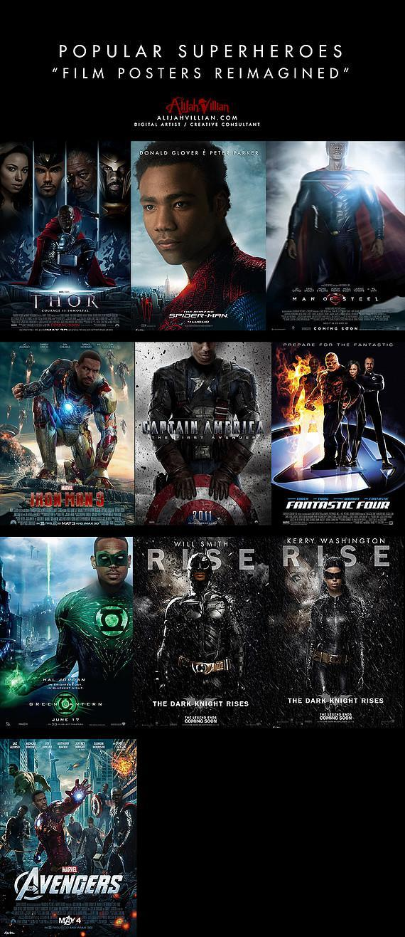 Is The World Ready For A Black Superman? Film Posters Reimagined with Black Superheroes