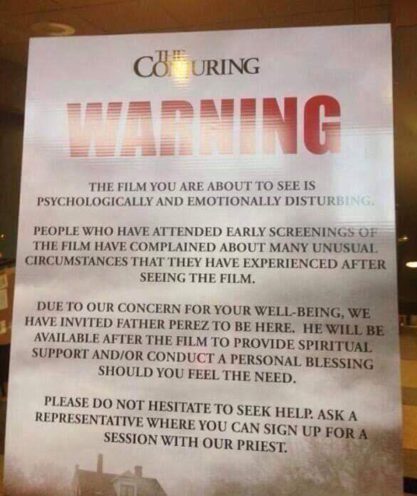 the conjuring warning poster