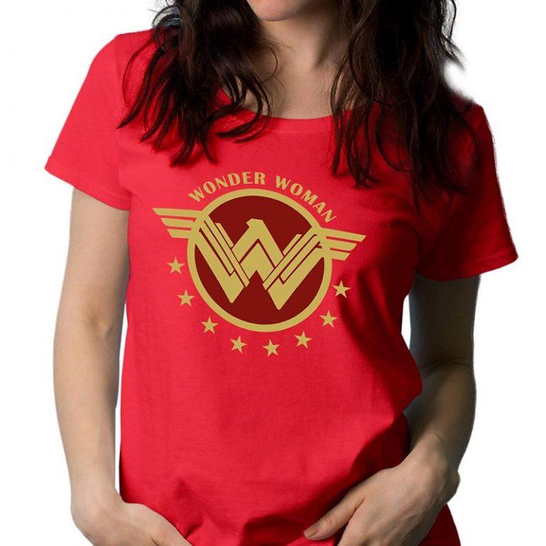 Wonder Woman Red Gold Logo Tshirt 4