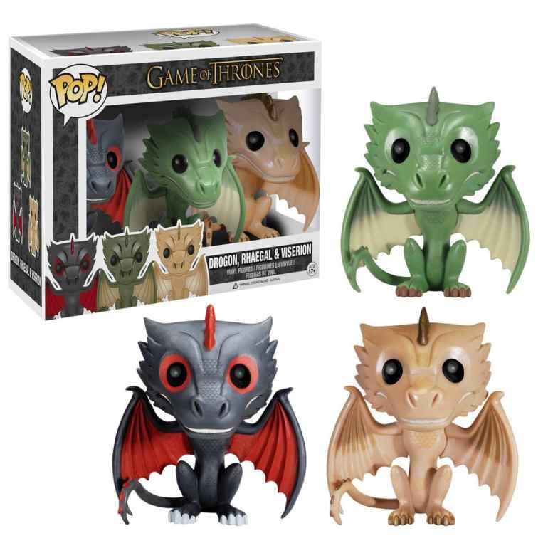 Drogon, Rhaegal, and Viserion