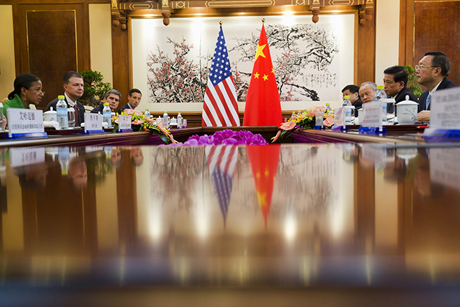 U.S. National Security Advisor Susan Rice (L) takes part in talks with Chinese State Councilor Yang Jiechi (R) at the Diaoyutai State Guesthouse in Beijing, China August 28, 2015. REUTERS/Ng Han Guan/Pool - RTX1PZ9B